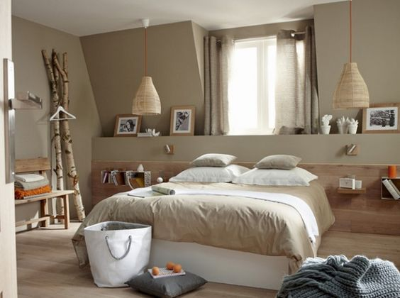peinture beige taupe chambre bois idées chambre deco chambre chambre