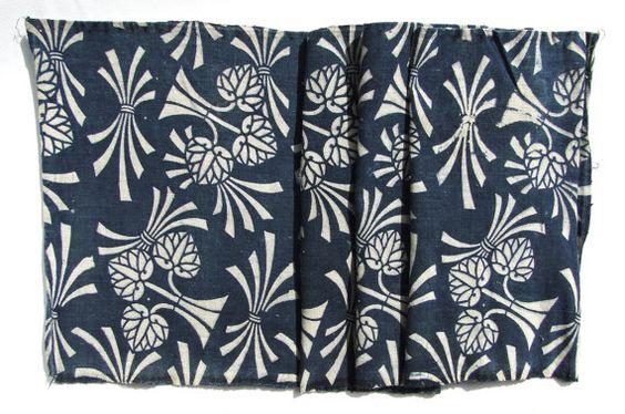 Antique Indigo. Japanese Katazome Cotton. Aizome. Rice Bushel Floral Stencil Design (Ref: 290)