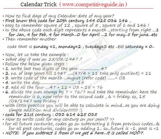 Maths Tricks - Calender trick - Online Competitive Exams, Aptitude, General Knowledge, Online Exams, Online Test, Quiz, Online G.K.