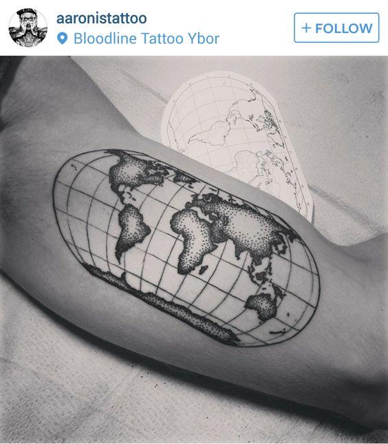 World globe arm tattoo | Things for Bri | Pinterest ...