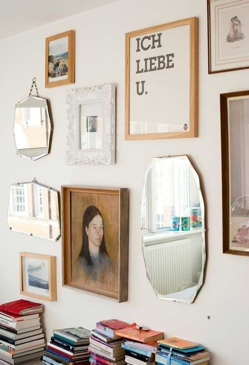 I love salon style walls like this via ehow.com