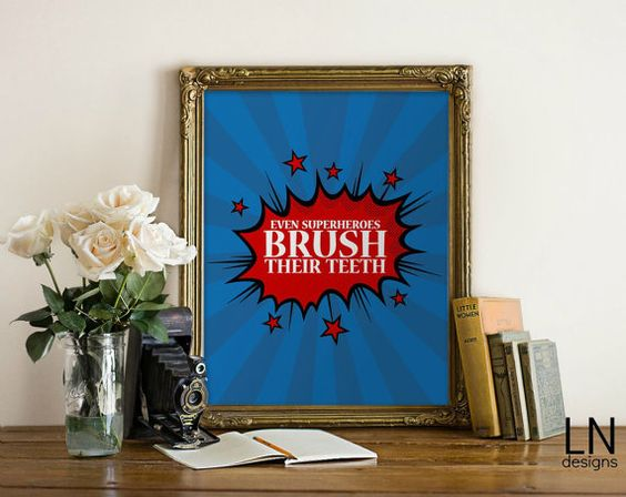 Instant 'Even Superheroes Brush their teeth' by mylovenotedesigns