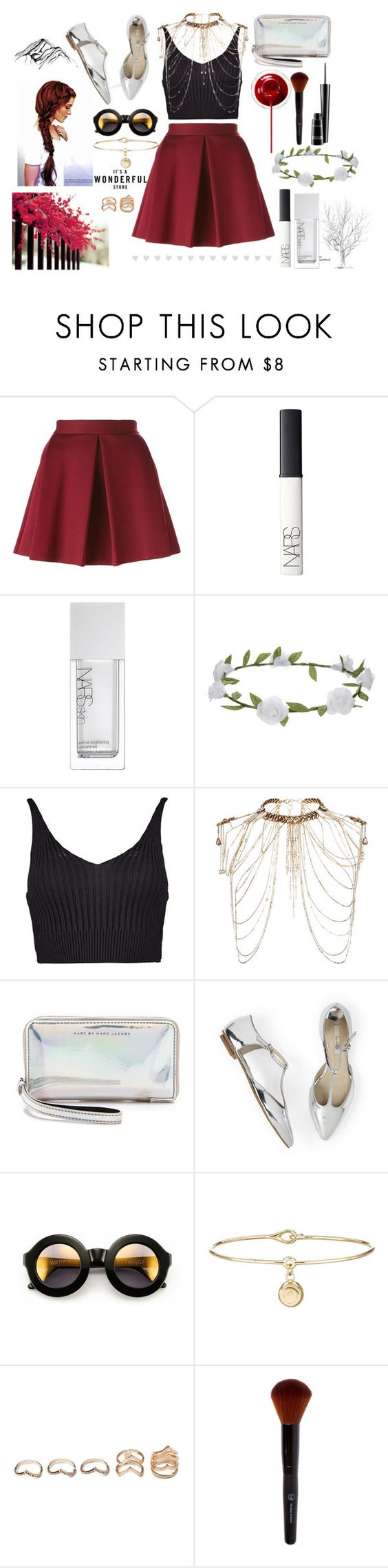 """untitled#122"" by fancywolrd ❤ liked on Polyvore featuring P.A.R.O.S.H., NARS Cosmetics, Accessorize, Boohoo, Erickson Beamon, Marc by Marc Jacobs, Wildfox, Aurélie Bidermann, Forever 21 and MAC Cosmetics"