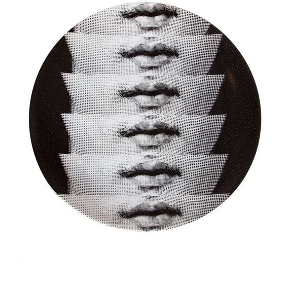Fornasetti Mouth Print Plate (4,870 THB) ❤ liked on Polyvore featuring home, kitchen & dining, dinnerware, black, black plates, black and white dinnerware, black and white plates, fornasetti plates and black white dinnerware