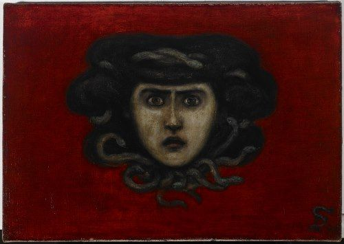 Florine Stettheimer: Head of Medusa (Ettie Stettheimers Porträt als Medusa nach dem Vorbild Franz von Stucks),1908 Öl auf Leinwand,