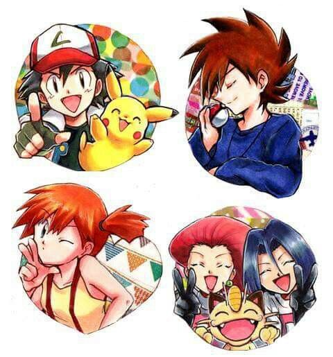 Ash Ketchum, Pikachu, Gary Oak, Misty and Team Rocket ...