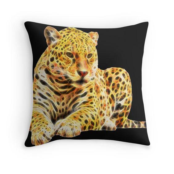 Fractal Jaguar throw pillow by Tracey Lee Art Designs