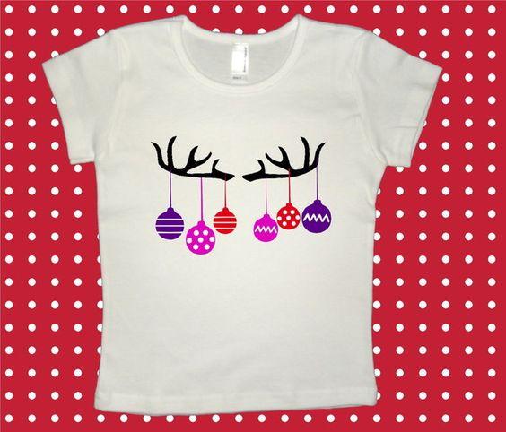 Bügelbild ♥ Geweih + Weihnachtskugeln