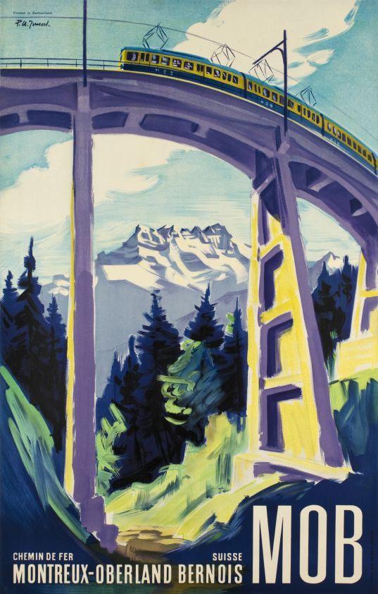 MOB, Chemin de fer Montreux-Oberland Bernois, Suisse.  Vintage Travel Switzerland