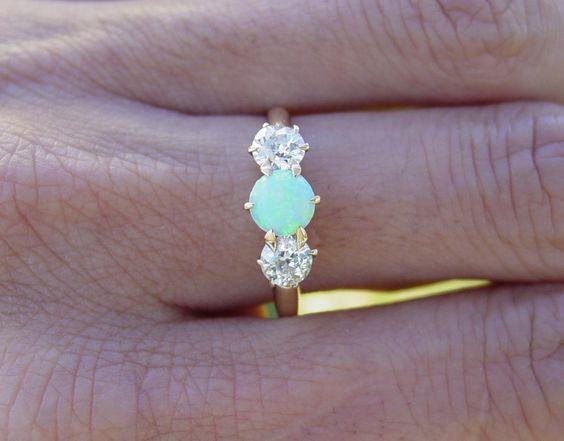vintage antique opal european diamond ring