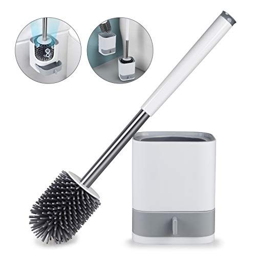 Homtoyou Toilet Brush And Holder Set Bathroom Cleaning Toilet Bowl Brush Cleaner Anti Slip With In 2020 Clean Toilet Bowl Toilet Bowl Brush Toilet Brushes And Holders