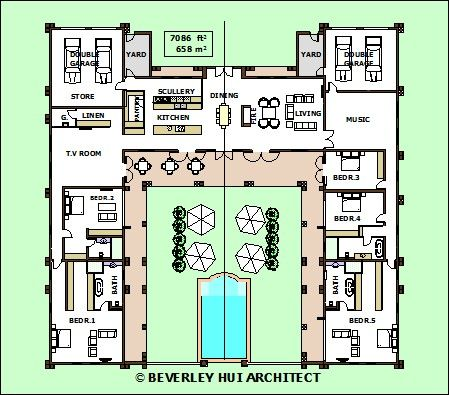 H shaped house plans with pool in the middle pg3 Pool house floor plans free