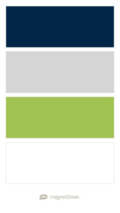 Navy, Silver, Lime, and White Wedding Color Palette - custom color palette created at MagnetStreet.com
