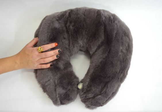 Real fur travel pillow cervical support neck pillow by BeFur