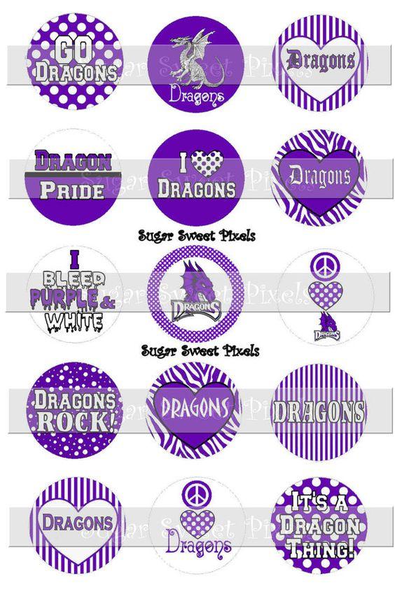 INSTANT DOWNLOAD Dragons Purple White School Mascot 1 inch circle Bottlecap…