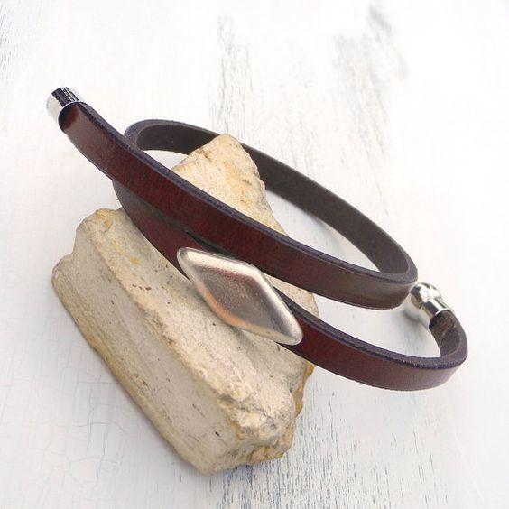 Para hombre pulsera de cuero, Concho remache pulsera, pulsera de cuero marrón mens con rombo remache