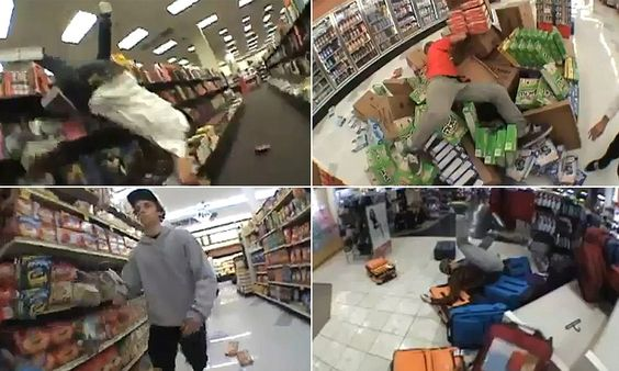 Belly-flopping over bookshelves, diving into product displays... How videos of teens trashing stores is the latest criminal trend to sweep the web