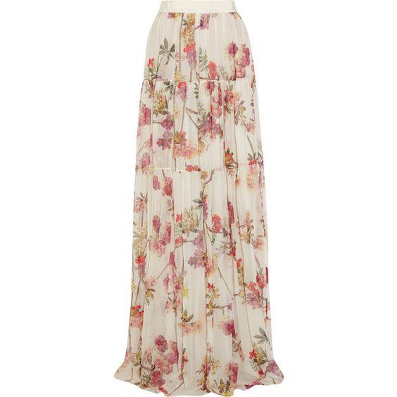 Giambattista Valli Printed silk-chiffon maxi skirt (12,220 MXN) ❤ liked on Polyvore featuring skirts, hameet, maxi skirts, saias, bottoms, cream, maxi skirt, pink pleated maxi skirt, long skirts and long floral skirts
