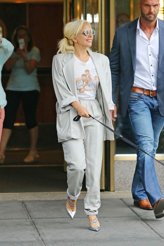 Lady+Gaga's+Toned-Down+Look+Is+Perfect+for+Work+via+@WhoWhatWear