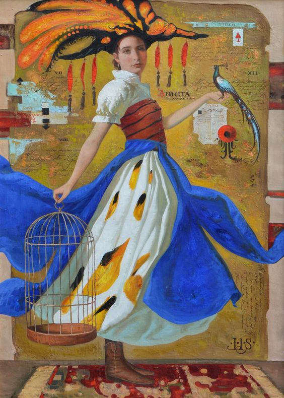 Igor  Samsonov | OIL | Anita in a Blue Dress: