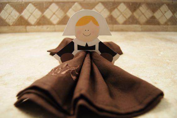 Easy pilgrim napkin holders printable pilgrims for Napkin rings for thanksgiving