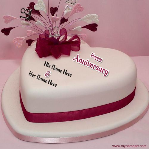 Awesome Wedding Anniversary Heart Cake With Names Latest Wishes Cards Marriage Name Cakes