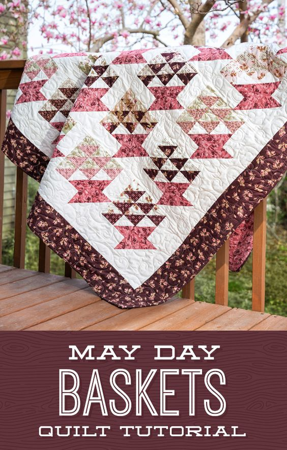 Fill your baskets with flowers! Watch as Jenny Doan uses precut 2.5 inch strips to create this darling, quick and easy new quilt block! Click the link for the free tutorial to follow along with Jenny and create your very own May Day Baskets Quilt! #Quilting #Quiltpattern #Quilt #Quilts #Tutorial #Freetutorial #MissouriStarQuiltCo #JennyDoan #DIY #Sewing #Crafting #Patchwork #Fabric #Scrappyquilts #Create #May #Spring #Flowers #Baskets #Homedecor #Education