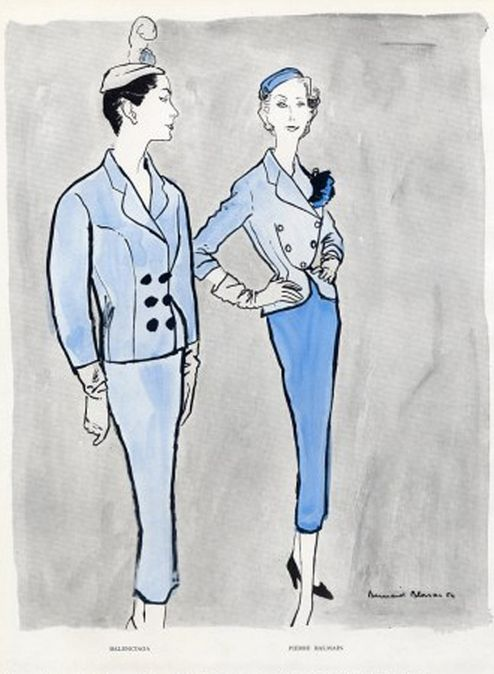 Illustration by Bernard Blossac, 1954, Balenciaga  Balmain.