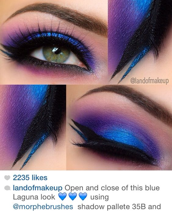 Blue and purple double eyeshadow and winged eyeliner makeup look by @landofmakeup of Instagram using Morphe Brushes products.