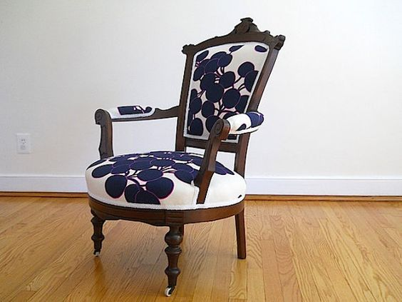 Antique Victorian Mahogany Arm Chair, Boutique Home Decor for Decorator, ReUpholstered Wooden Bedroom Chair,  French Provincial Armchair on Etsy, $595.00  I would pick a different print, but cute idea.