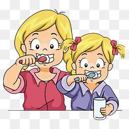 Os Desenhos Em Vetor Cartoon As Irmas Escovar Os Dentes Png E Vector Escova De Dente Higiene Bucal Dentes Desenho