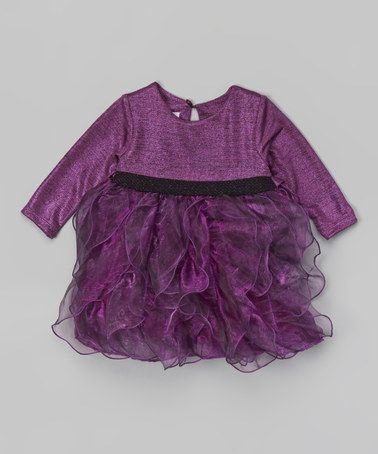 Purple Cascade Ruffle Dress & Diaper Cover - Infant by Gerson & Gerson #zulily #zulilyfinds