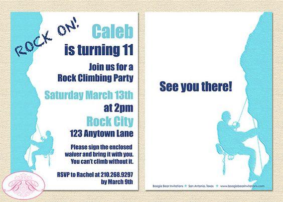 Rock Mountain Climbing Party Invitation Birthday Blue 9th 10th – Rock Climbing Birthday Party Invitations