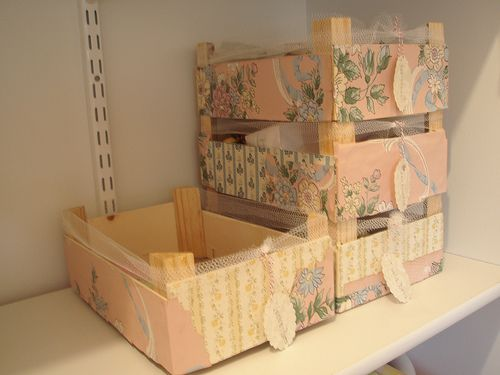 With the addition of scrapbooking paper, ribbon, and decorative tags, these up-cycled clementine boxes are pretty enough for storing a teacher's desk supplies.: