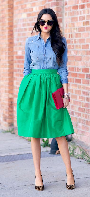 chambray + a-line skirt + leopard shoes: