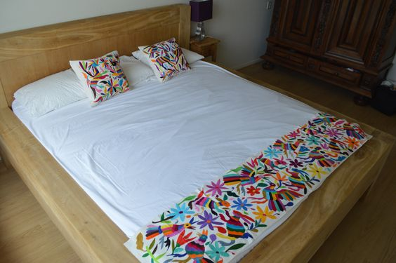 100% Organic Otomi Bed Runner | Mexican Bed Runner | Mexican bed cover | Mexican Table Runner | Animal pattern bed runner | Otomi Bed Runner | Home & Living | Bedding | Blankets & Throws | fabric | natural cotton | hand embroidered otomi table runner | hand crafted | animal print | otomi fabric | multicolor runner | camino otomi | mexican decor | mexico | housewares | bed runner | Sobrecama Mexicano | OTOMI MEXICO