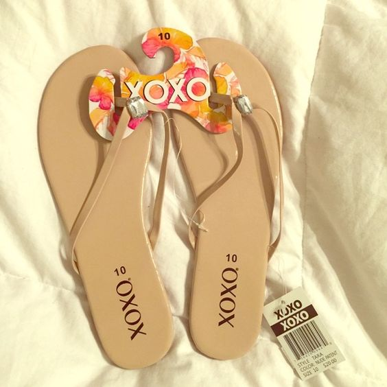 • XOXO Nude & Crystal Flip Flops STILL AVAILABLE • I have multiple pairs of these and I L O V E them! They're great to throw on when you want to look nice but really don't want to put effort in (haha)! New with tags, never worn, I will take offers!                                                                                            •20% off 2 or more items• XOXO Shoes Sandals