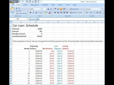 How To Car Loan Repayment Schedule In Excel Car Loans Excel