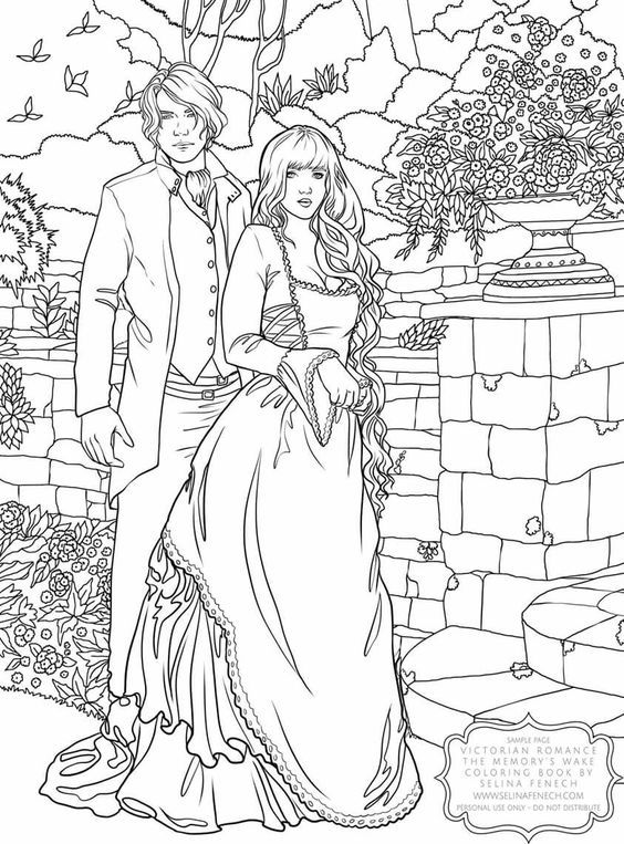Adult Coloring Victorian Romance Coloring Book Artwork By