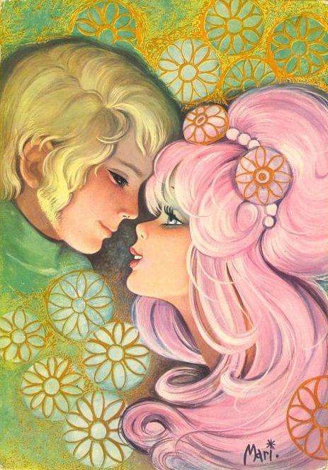 c.1960s postcard, by Mari.: Peace 1960S, Mari 1960S, 1960S Art, Eyed Couple, Vintage Illustration, Perfect Rxx1960S, Groovy Girlie, Rxx1960S Postcard