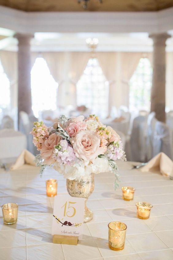 Reception and Table Decor :: Elegant blush and gold Summer Wedding //  Miranda Laine Photography // ConfettiDaydreams.com Wedding Blog