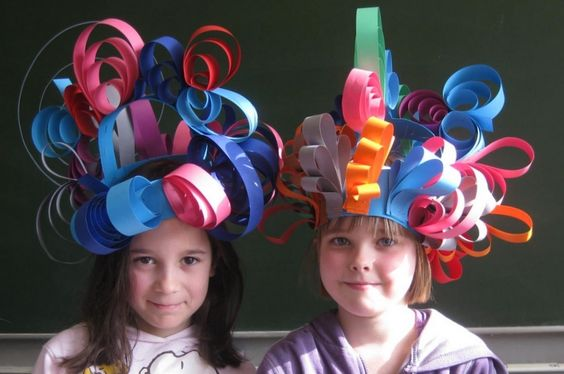 Paper strip hats using curled, folded and shaped paper strips. Approved by Andrea Beaty, author of Happy Birthday Madame Chapeau.