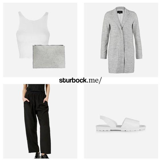 Simple Style: Crop Top, Leder-Clutch, Kurzmantel, Jogginghose und Sandalen. Hier entdecken und shoppen: http://sturbock.me/iGU