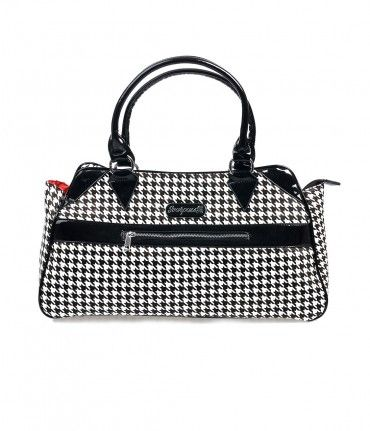 Clean and classy, dames! A stand out mod-inspired overlarge bag in a sensational black and white houndstooth with black...Price - $58.00-osobxPX6