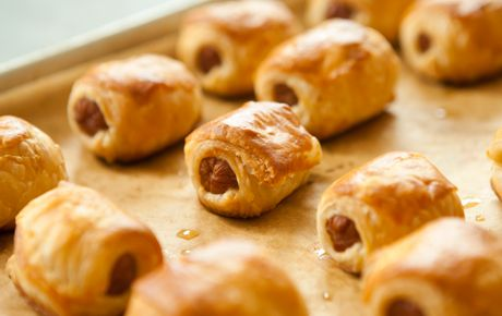 Traditional pigs in a blanket with a fancy sauce!