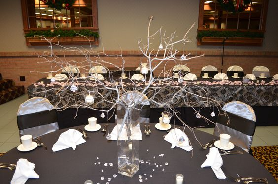 Metallic Branch Centerpiece-Winter Soire Wedding by Designed Sealed and Delivered
