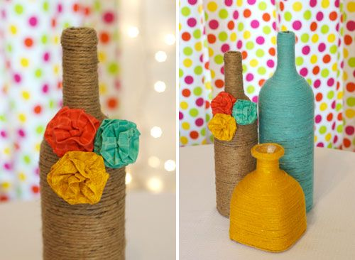 Alternative Ideas for Wedding Centerpieces, we would obviously use the colors you want instead, but I think burlap flowers, or died canvas flowers will make an inexpensive centrepiece