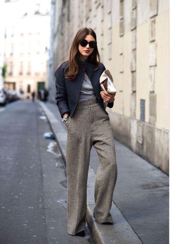 Pantalon ancho de espiguilla