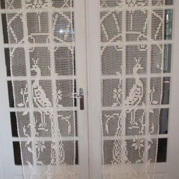 French Door Crochet Lace Curtains, Peacock Crochet Curtains ...