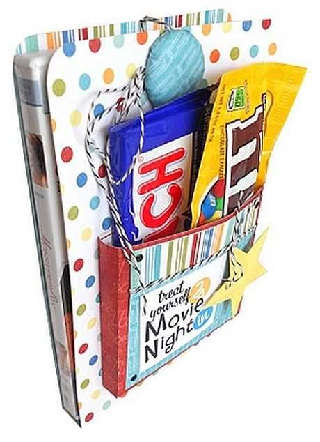 Movie Night Package  Buy one of your flatmate's favourite DVDs and some fun-coloured card and get your craft on! Make a kind of book cover for the DVD, and then add a kangaroo-like pouch to the front which you can fill with their most-loved cinema snacks.